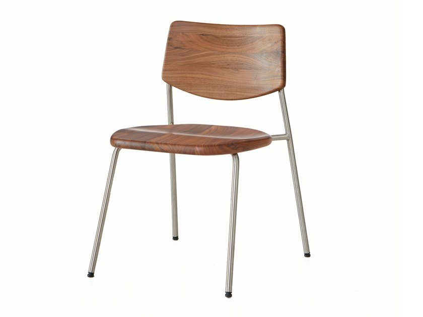 Stackable stainless steel and wood chair PIPE   Chair by BassamFellows