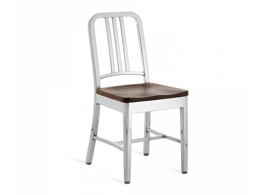 Aluminium and wood chair 1104 NAVY | Chair by Emeco