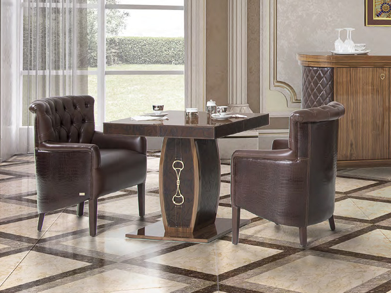 Lacquered square leather table SAINT TROPEZ by Formitalia
