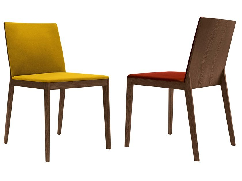 Upholstered fabric chair with oak structure ALMA by JESSE