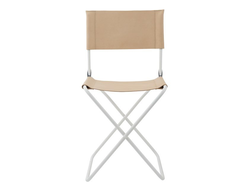Folding leather garden chair LISON | Chair by Lafuma Mobilier