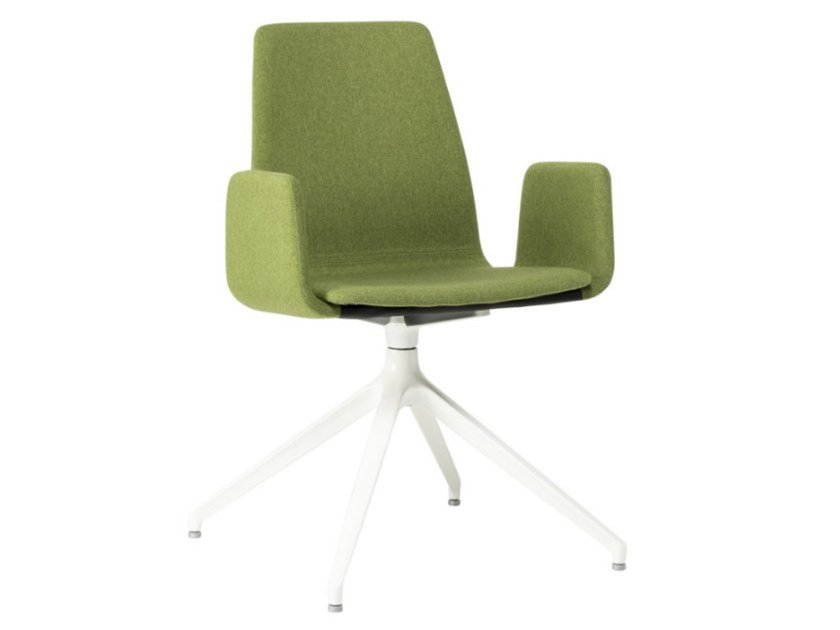 Trestle-based fabric chair with armrests and metal base TECLA SB01 BASE 22 by New Life