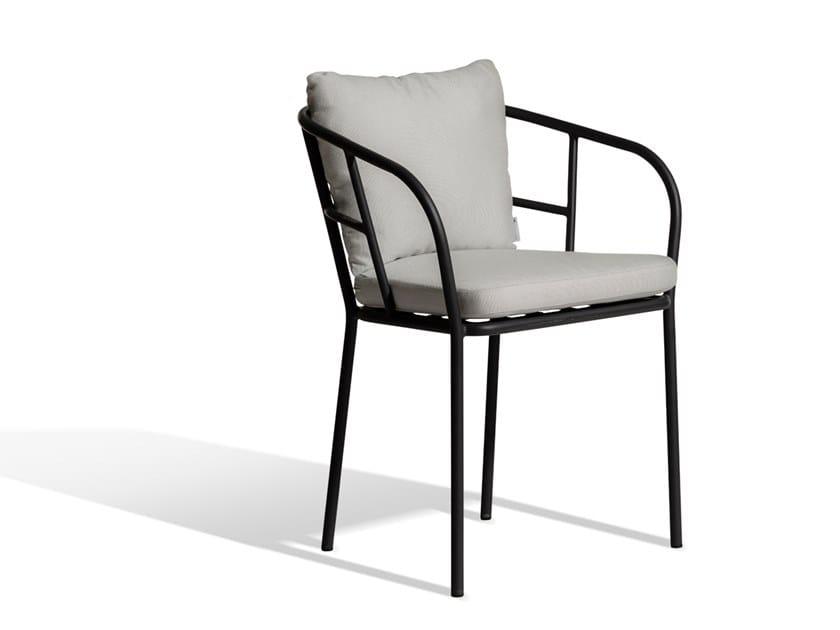 Upholstered Sunbrella® chair with armrests SALTÖ | Chair by Skargaarden