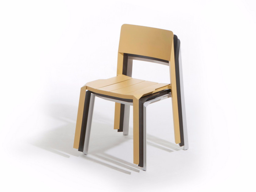 Stackable aluminium chair TRI TUBE   Chair by Specimen Editions