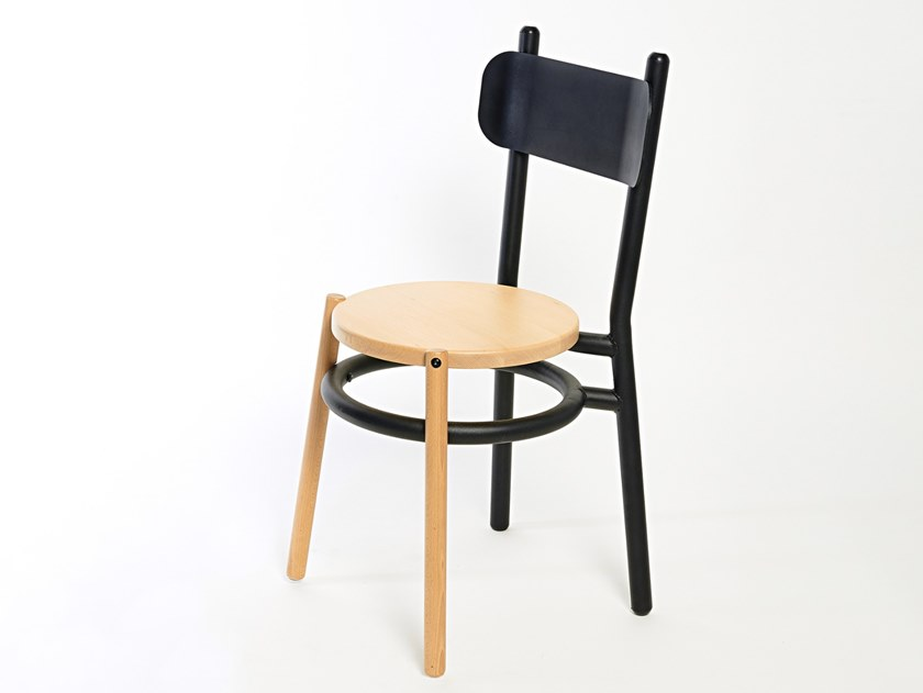Steel and wood chair with footrest CHAILLOT | Chair by Specimen Editions
