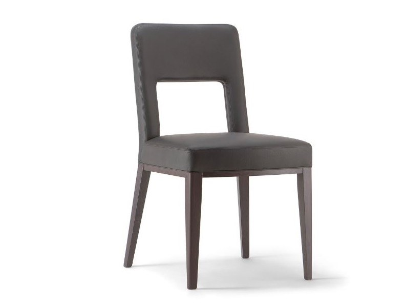 Upholstered open back leather chair MONTREAL | Chair by Tirolo
