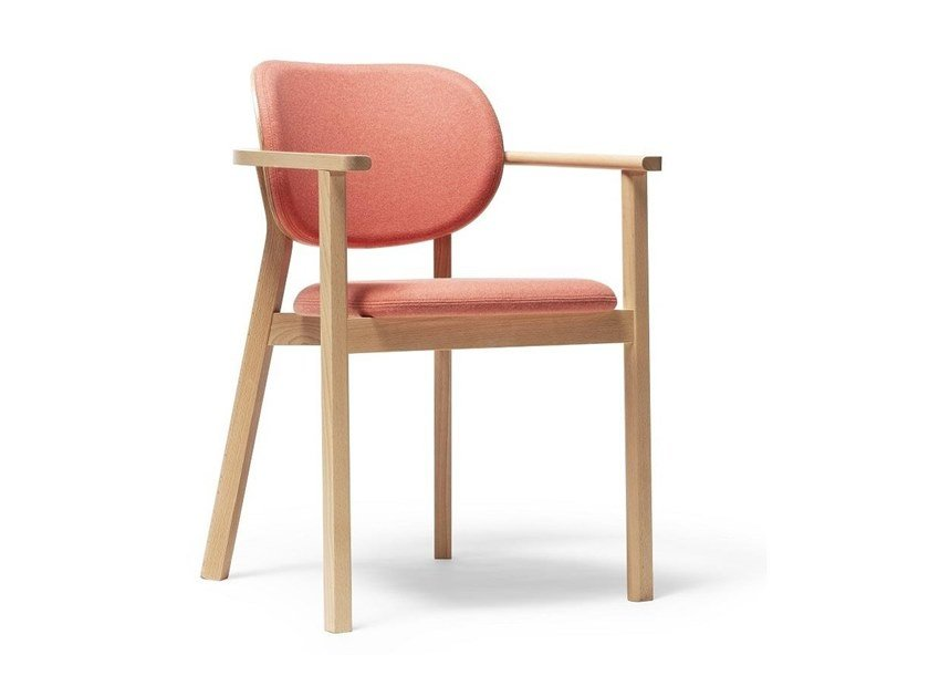 Upholstered stackable fabric chair with armrests SANTIAGO 02 | Chair by TON