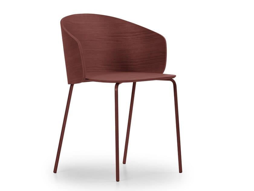 Sedia in acciaio e legno con braccioli NOT WOOD | Sedia by True Design
