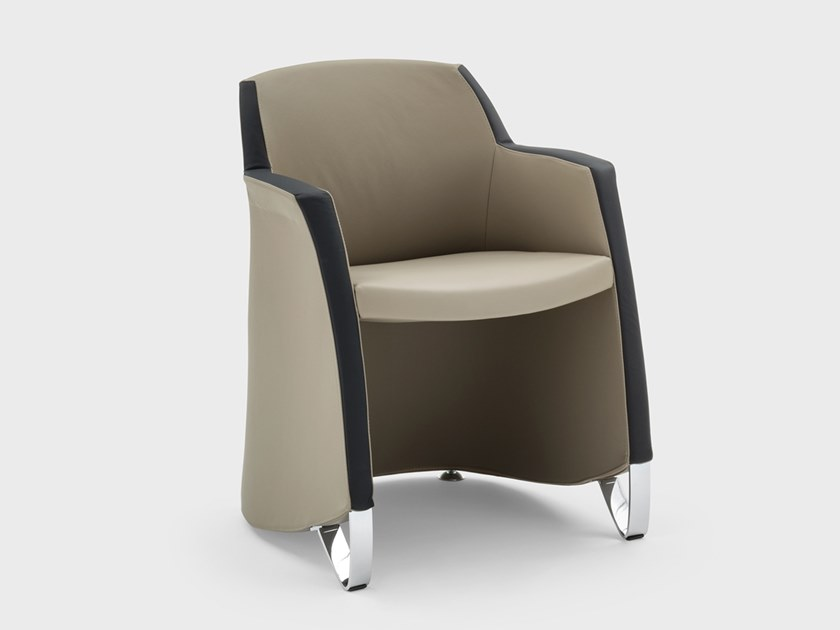 Leather chair with armrests MISS GRACE | Chair by Viganò