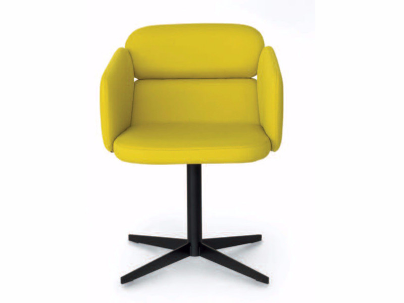 Swivel Fabric Chair With 4 Spoke Base Armrests Bliss