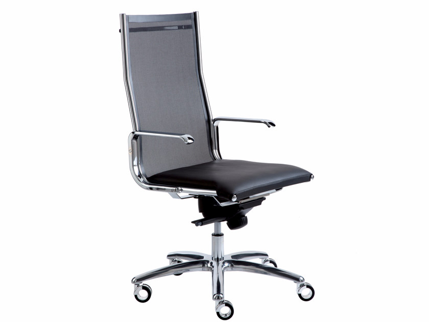 Height-adjustable executive chair with 5-spoke base with casters TAYLORD MESH | Executive chair by Luxy