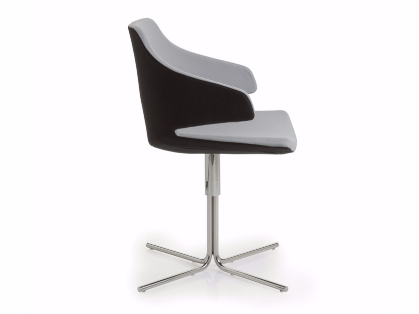 Height-adjustable fabric chair with 4-spoke base with armrests MERAVIGLIA | Chair with 4-spoke base by Luxy