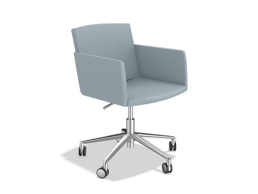 Swivel fabric chair with 5-spoke base with armrests LEON IV | Chair with 5-spoke base by Casala
