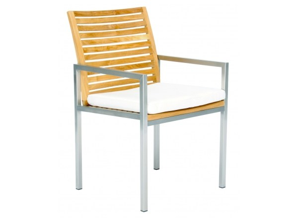 Steel and wood restaurant chair with armrests CITYSCAPE | Chair with armrests by 7OCEANS DESIGNS