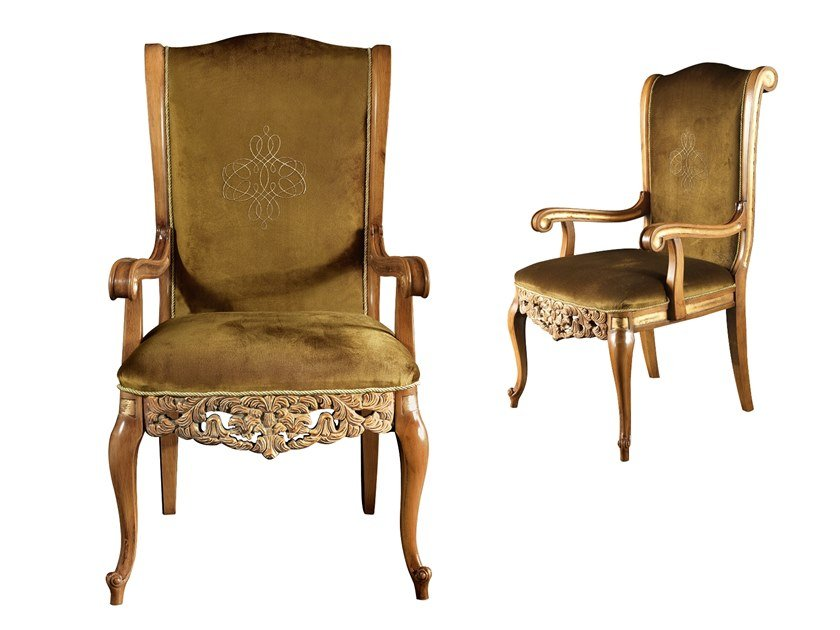 Fabric chair with armrests ROYAL | Chair with armrests by A.R. Arredamenti