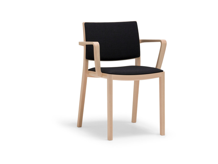 Stackable wooden chair with armrests DUOS | Chair with armrests by Andreu World