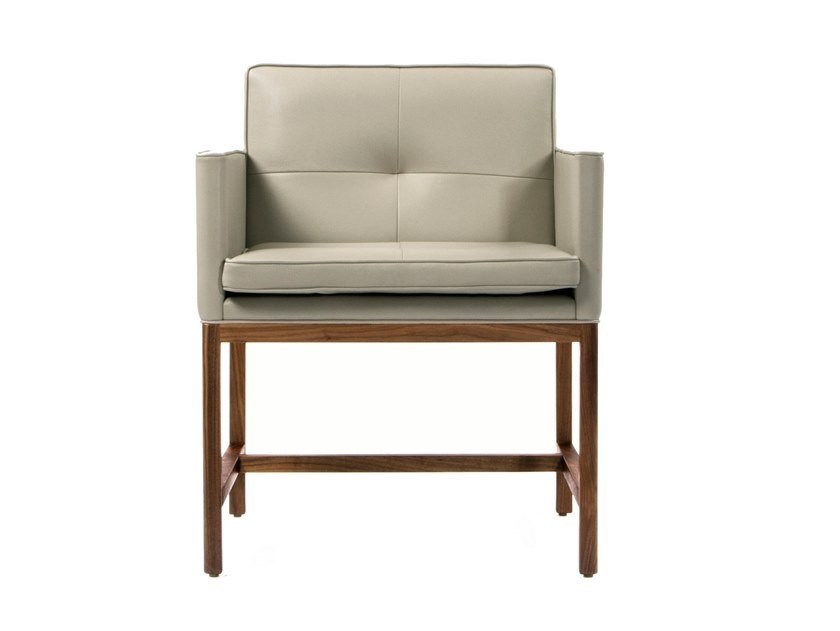 Upholstered leather chair with armrests WOOD FRAME DINING | Chair with armrests by BassamFellows