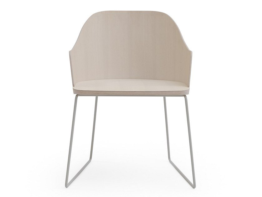 Sled base ash chair with armrests FITT CLASSIC | Chair with armrests by Billiani
