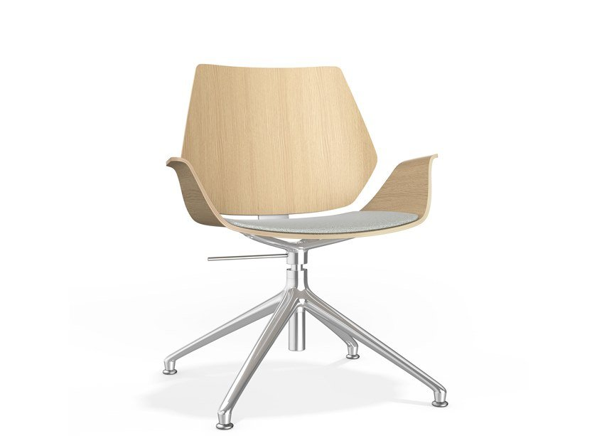 Swivel upholstered height-adjustable wooden chair CENTURO IV | Chair with armrests by Casala