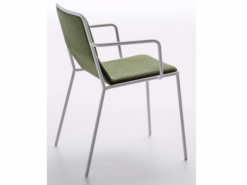 Upholstered fabric chair with armrests TRES | Chair with armrests by arrmet