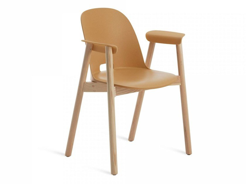 Wooden chair with armrests ALFI | Chair with armrests by Emeco