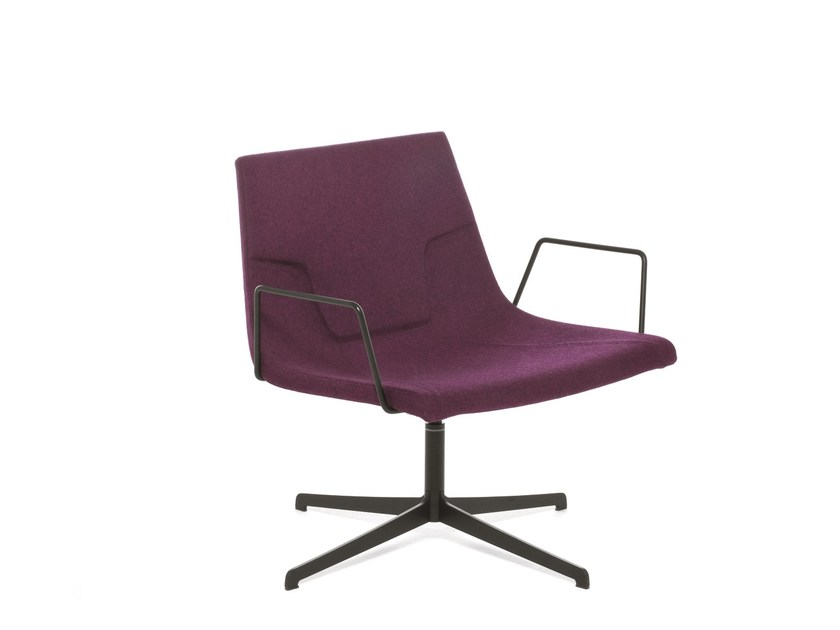 Swivel chair with 4-spoke base with armrests ELLE 70 | Chair with armrests by Emmegi