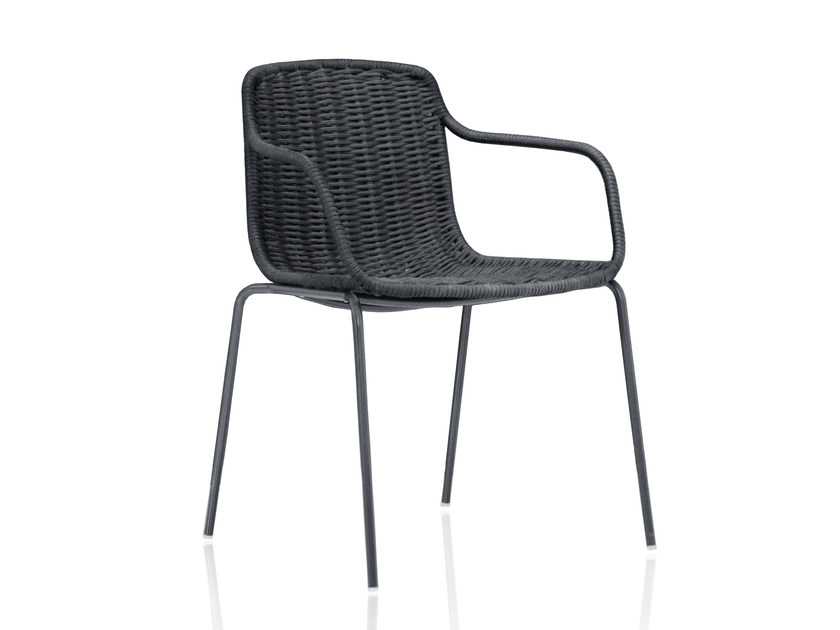 Stackable polyester garden chair with armrests LAPALA | Chair with armrests by EXPORMIM