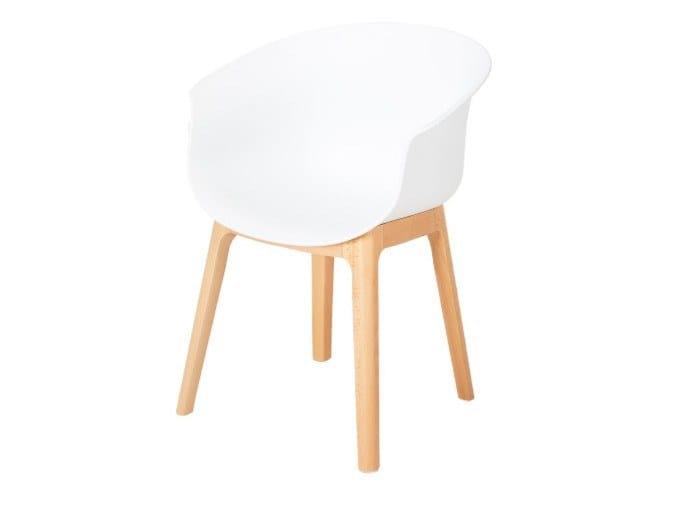 Sedia con scocca in polipropilene e base in faggio QUEEN   Sedia con braccioli by Grado Design