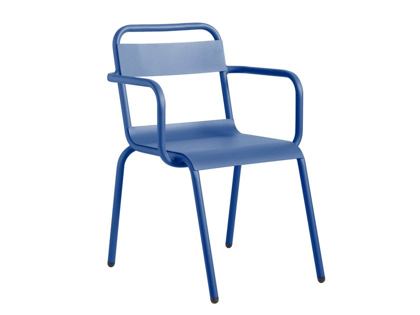Powder coated aluminium garden chair with armrests BIARRITZ | Chair with armrests by iSimar