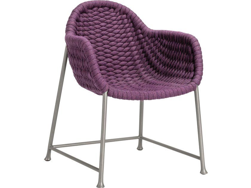 Olefin fiber garden chair with armrests CHOPSTIX | Chair with armrests by JANUS et Cie