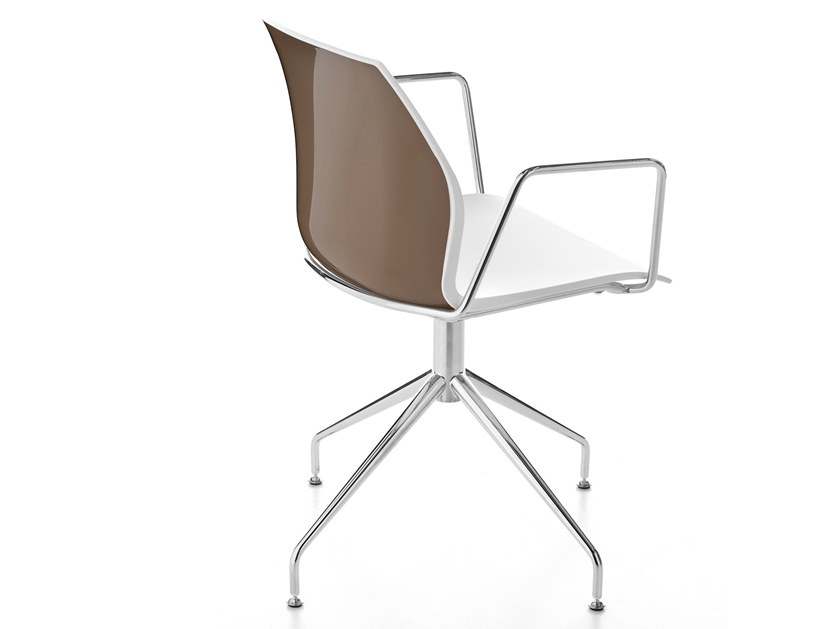 Swivel trestle-based chair with armrests KALEA | Trestle-based chair by Kastel