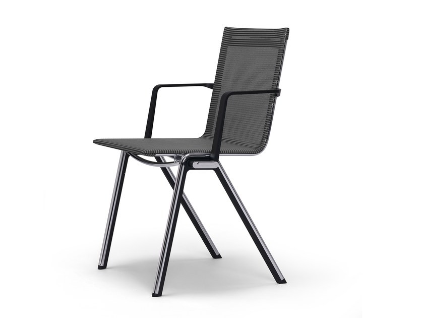 Stackable chair with armrests BLAQ | Chair with armrests by rosconi