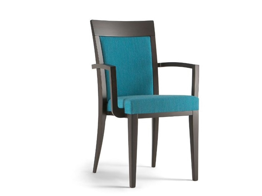 Solid wood and fabric chair with armrests ATLANTA | Chair with armrests by Tirolo