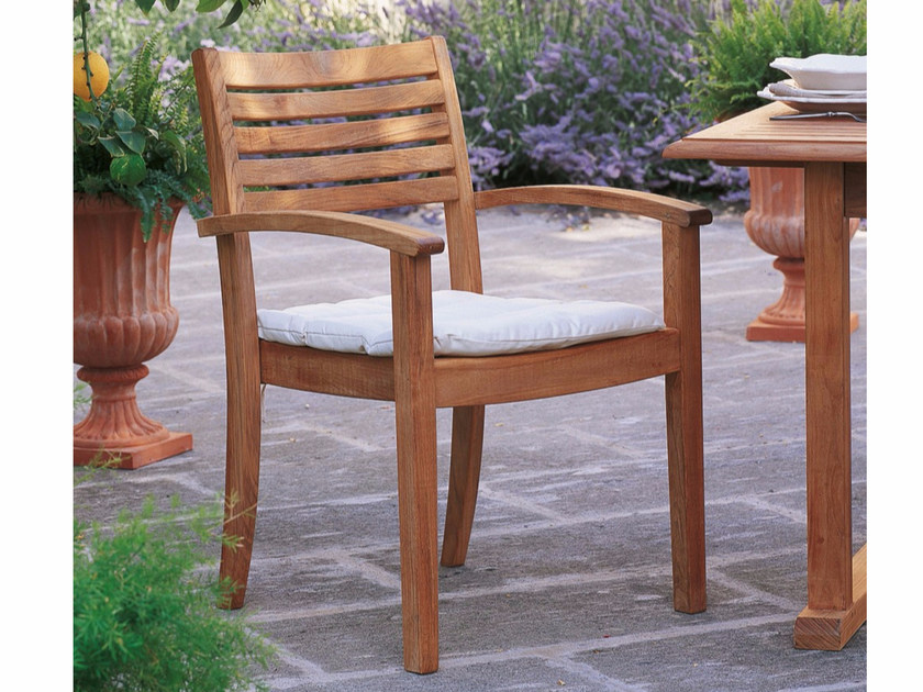 Teak garden chair with armrests BRIDGET   Chair with armrests by Unopiù