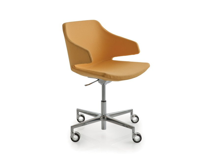 Height-adjustable fabric chair with 4-spoke base with casters MERAVIGLIA | Chair with casters by Luxy