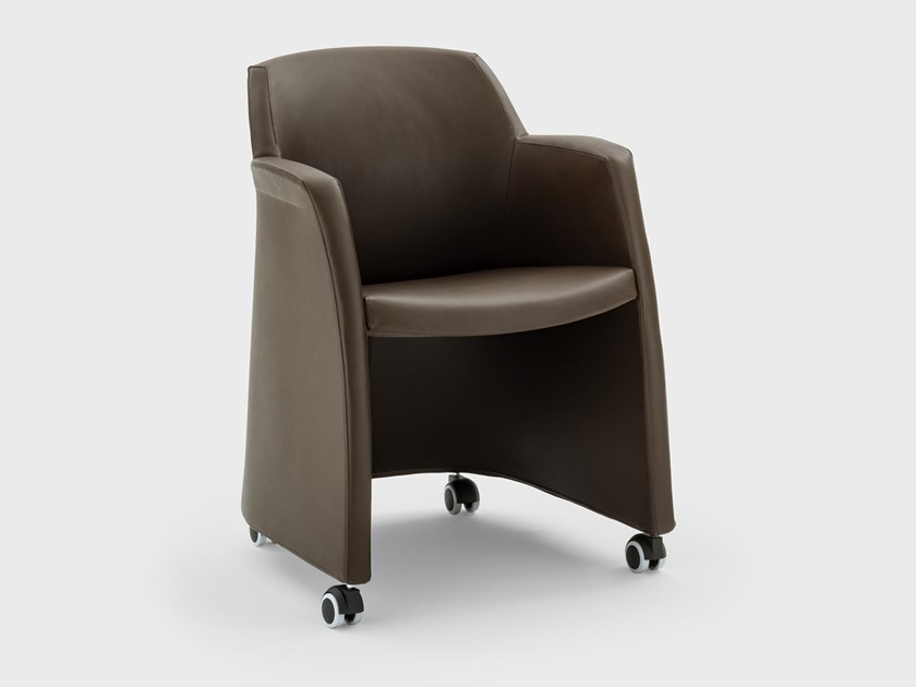 Leather chair with armrests with castors MISS GRACE | Chair with castors by Viganò