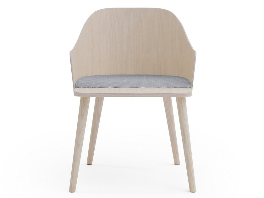 Ash chair with integrated cushion FITT CLASSIC | Chair with integrated cushion by Billiani