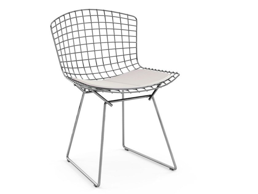 Steel chair with integrated cushion BERTOIA SIDE CHAIR | Chair with integrated cushion by KNOLL
