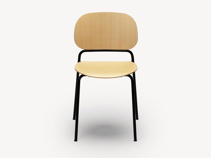 Sedia impilabile in legno impiallacciato UPON | Sedia by Zilio A&C
