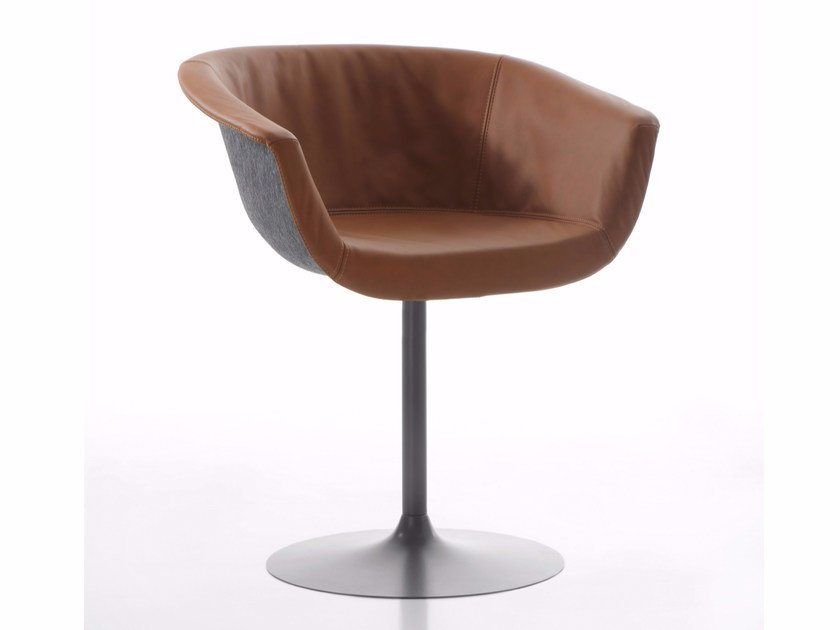 Swivel upholstered leather chair with armrests CHAIRMAN   Swivel chair by conmoto