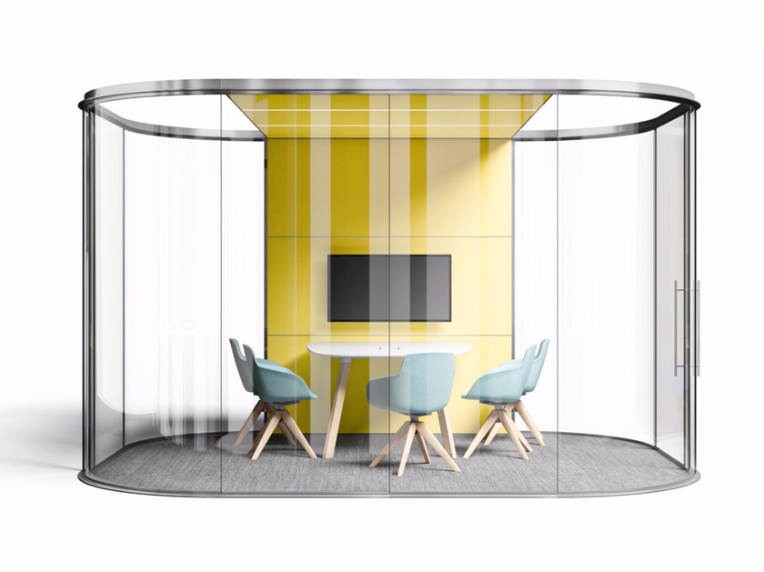 Acoustic sliding glass office partition CHAKRA by Sinetica