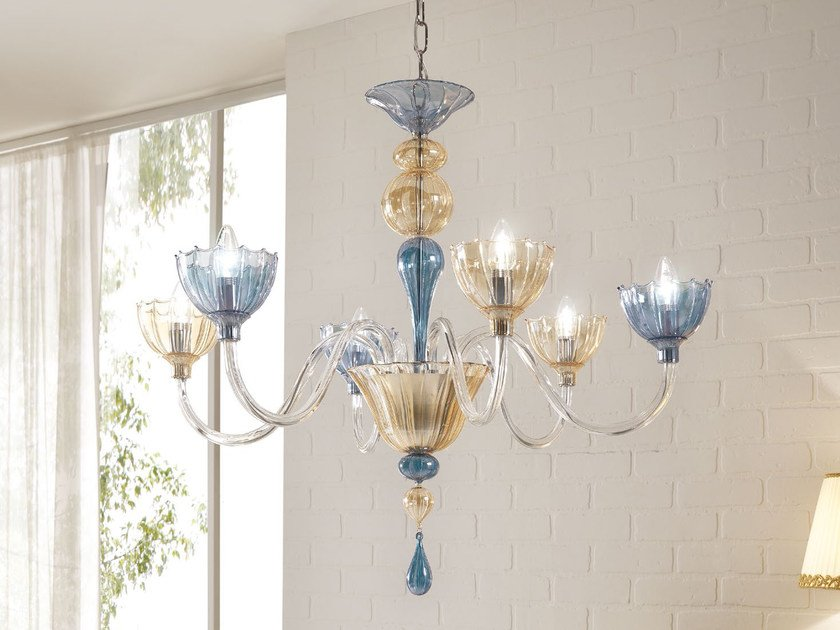 Indirect light blown glass chandelier COLOR | Chandelier by Cangini & Tucci