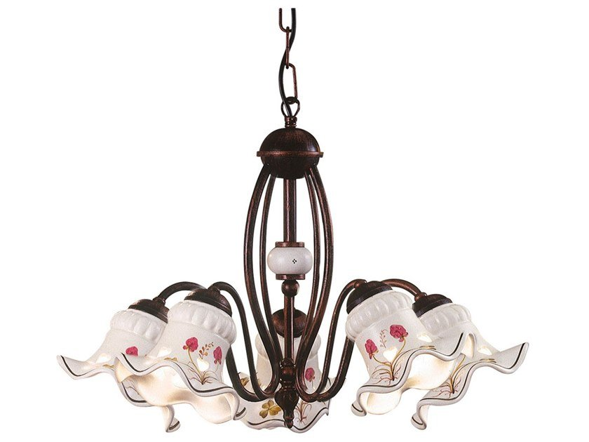 Metal and ceramic chandelier CHIETI | Chandelier by FERROLUCE