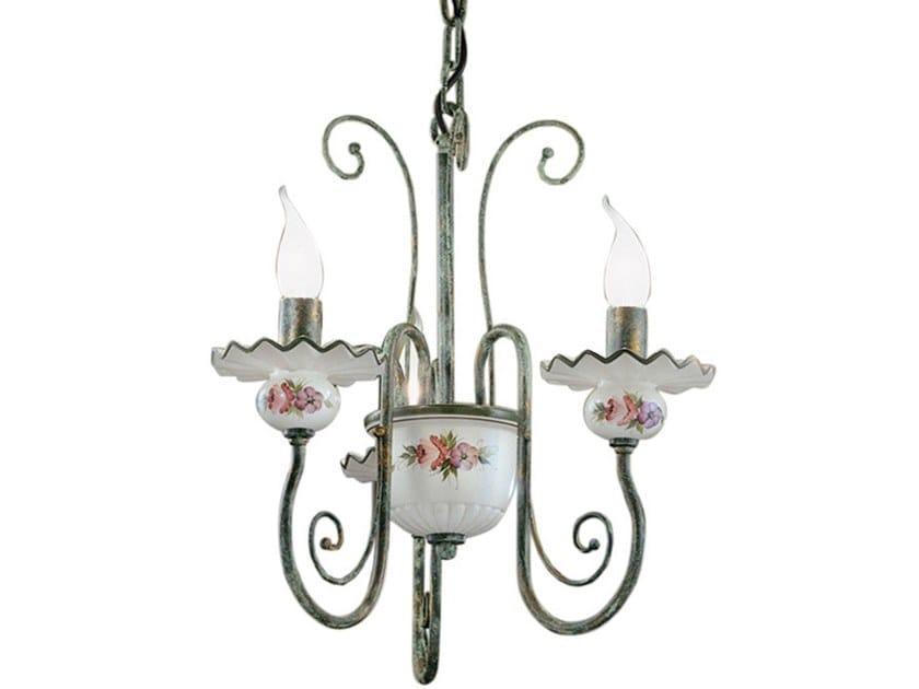 Ceramic and metal chandelier SANREMO | Chandelier by FERROLUCE