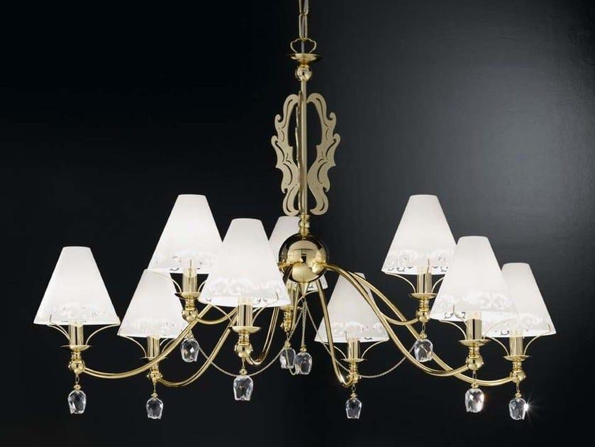 Direct-indirect light satin glass chandelier FOSCA   Chandelier by IDL EXPORT
