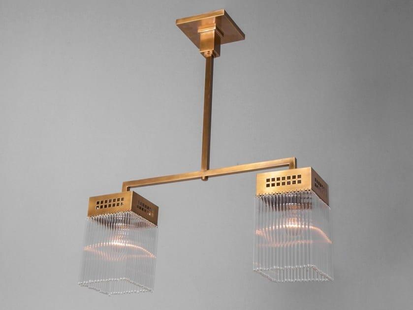 Lampadario a luce diretta fatta a mano in ottone HOFFMANN | Lampada a sospensione by Patinas Lighting