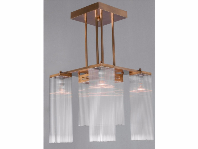 Direct light handmade brass chandelier HOFFMANN I | Chandelier by Patinas Lighting