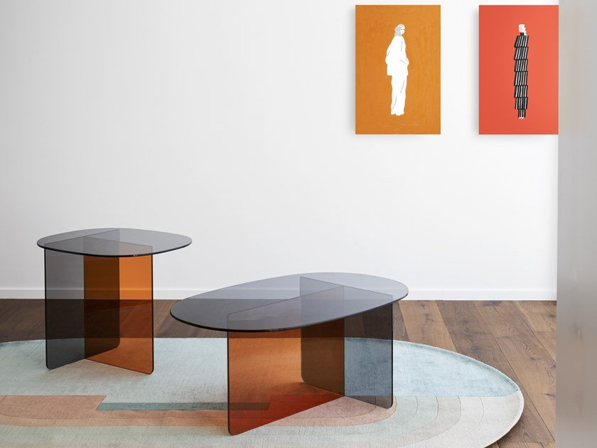 Oval glass coffee table CHAP by Miniforms