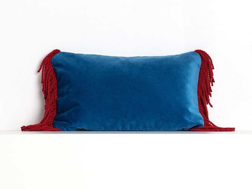 Solid-color rectangular velvet cushion CHARLIE BLEU OCEAN & ROUGE CARDINAL | Rectangular cushion by Maison Madeleine