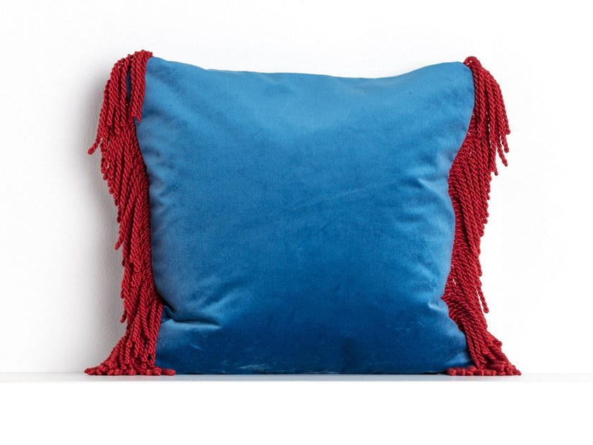 Solid-color square velvet cushion CHARLIE BLEU OCEAN & ROUGE CARDINAL   Square cushion by Maison Madeleine